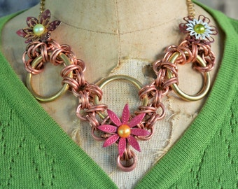 Jewelry sale, Flower necklace, Pretty necklace, Fun necklace, Unique necklace, Girly necklace, Cute necklace, Copper necklace, Upcycled OOAK