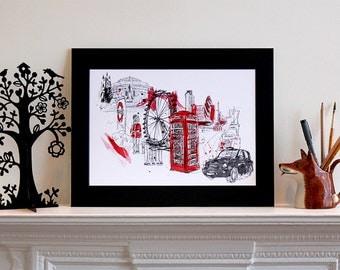 London Illustration Print, Art Print, London illustration, London Print, Personalised Art, Personalized Print, Art Gift, Custom Art
