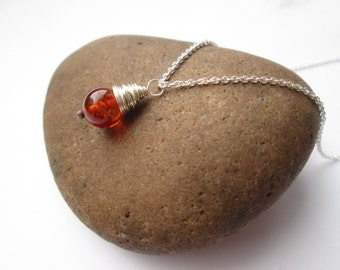 Amber Pendant - Amber Necklace, Amber Jewelry, Amber Jewellery, Wire Wrapped, Silver Pendant, Gift Jewellery, Gifts for Her