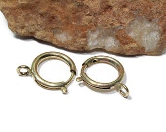 Vintage Extra Large Gold Filled Spring Ring Clasps 18mm 2pcs