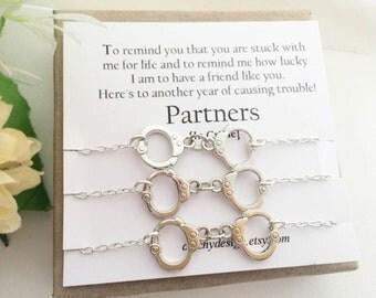 Set Of 3 Partners In Crime Bracelets,Handcuff Bracelet,Best Friend Gift