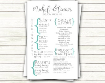 Modern Simple Wedding Ceremony Program Printable   Typography Handwritten Brackets Turquoise Fun Facts 8.5x5.5    Customized Digital File