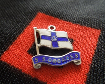 Enamel Silver Flag Charm S S Orcades Cruise Ship Charm Ocean Liner Charm Sterling Silver Charm for Bracelet from Charmhuntress 03717