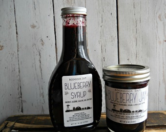 Blueberry Jam and Syrup Combo - All Natural Blueberry Syrup - Blueberry Jam- Hostess Gift - Homemade Blueberry Jam - Homemade Pancake Syrup