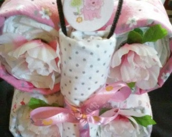 Butterfly Diaper Cake Pink Baby Girl