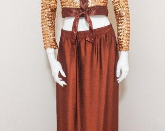 80s/90s Metallic Copper Maxi Skirt