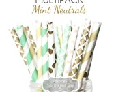 MINT NEUTRALS Paper Straws, Multipack, Mint, Cream, Neutral, Ivory, Champagne, Gold, Damask, Vintage, Stripe, Wedding, 25 Straws, 5 Designs