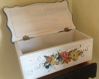 Vintage Wooden Hand Painted Box Floral Jewelry Box Folk art with Drawer-Great for Storage