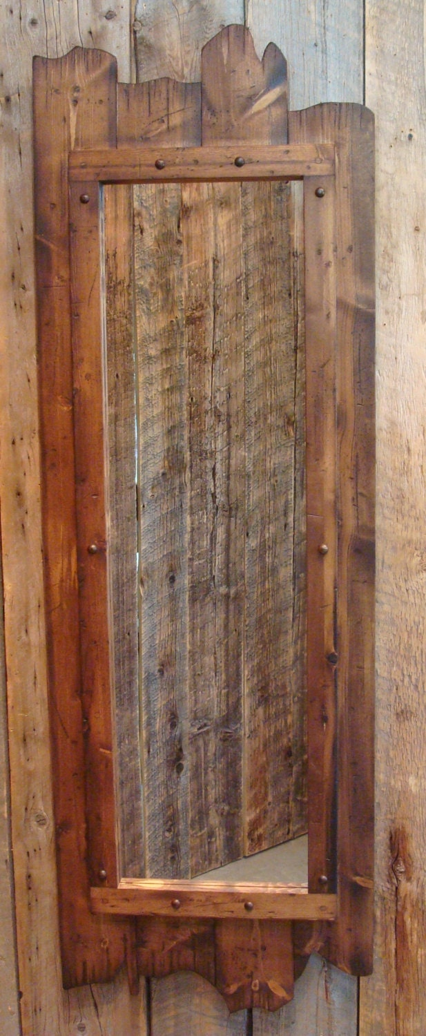 Rustic Stained Full Length Barnwood Mirror 60 X 22 Made Of