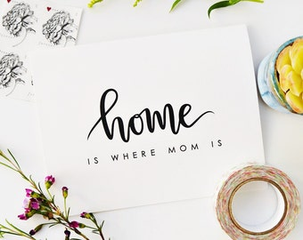Home Is Where Mom Is / Mother's Day Card / Hand Lettered / A2 / Blank Inside / Charitable Donation
