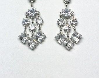 Vintage Pierced Deco Open Back Crystal Wedding Earrings, unique bridal jewelry, vintage wedding earrings