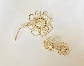 Brooch and Earrings Set - Vintage Sarah Coventry Flower with AB Rhinestones Jewelry Set