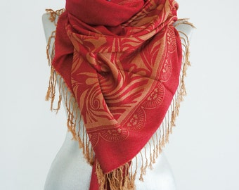 Summer Party Pashmina Scarf Shawl Coral Red Gold Floral Scarf Gift Scarf Oversize Pashmina Winter Women Fashion Accessories