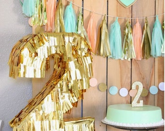 Gold Number Piñata for your Birthday fiesta