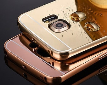 Metal mirror case for Samsung Galaxy S6 Edge, NEW Luxury  Ultra-thin Mirror Case Cover for Samsung S6, case for S6 edge pink gold