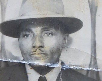 Original 1940's African American Dapper Black Man With Hat Photo Booth Photo - Free Shipping