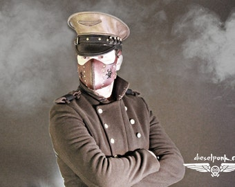 Leather Officer Cap - Steampunk Hat -Military Hat
