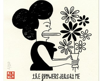 the flowers delightme / silk-screen print  / handmade print  / limited edition
