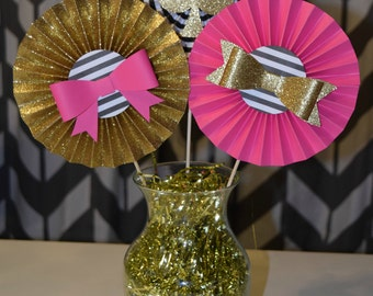Hot Pink, Gold, and Black Rosette Centerpiece