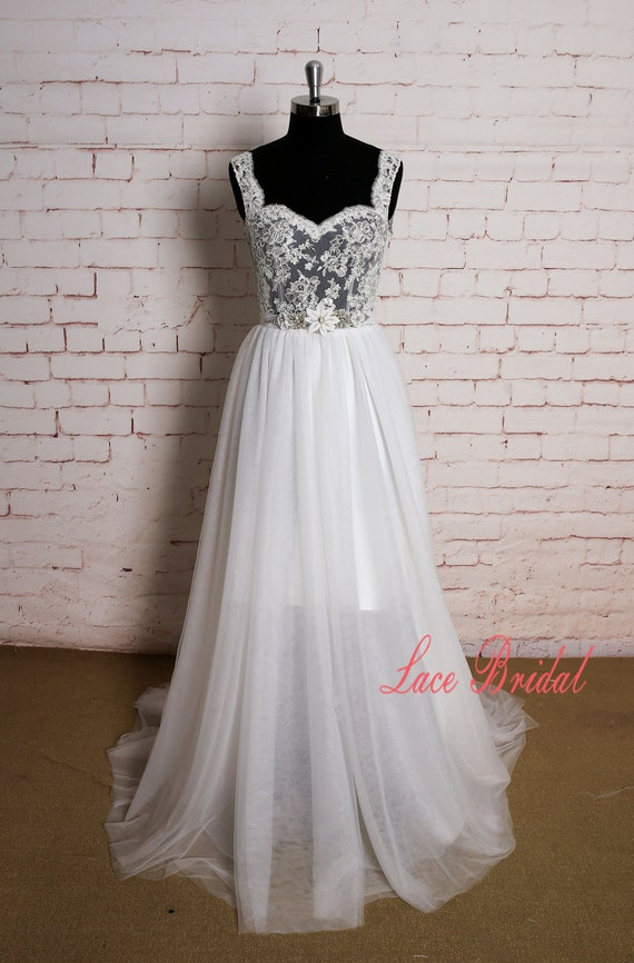 Lace straps wedding dress with sheer bodice backless by for Sheer bodice wedding dress