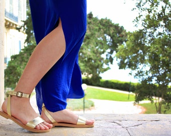 Ankle strap summer sandals, women sandals, gold sandals