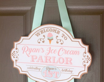 Ice cream parlor welcome sign - Ice cream first birthday party - Ice Cream shop - Sweet Shoppe - Ice cream social - Pink mint - Customizable