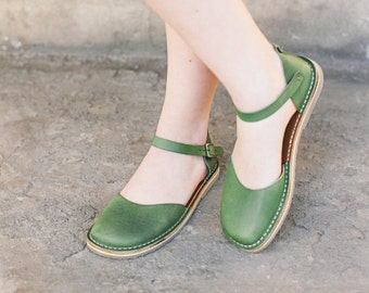 Leather flats, Summer Shoes, Leather Sandals, Women Sandals, Greenery Sandals, Summer Flats, Slingback, Flat Summer Shoes, Comfortable