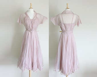 1940s Lilac Dress of Charm by Du Barry // Medium Large