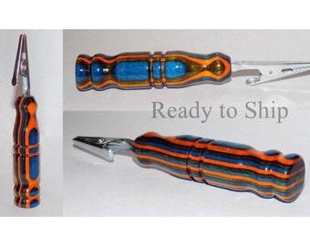 Wood Cigarette Clip, Green Blue Orange Striped Bracelet Assist, Alligator Clip, Wooden Handle, Ready to Ship, Match Holder, FREE SHIPPING