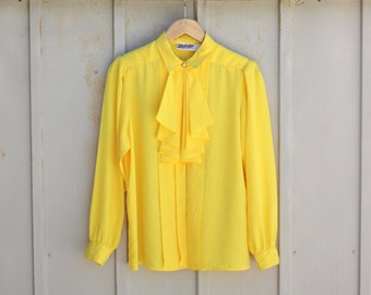 Vintage Ruffle Blouse - Yellow Secretary Top - 80s Does 60s Blouse - Retro Mod Top - Yellow Button Down Shirt - Ascot Top - Necktie Shirt