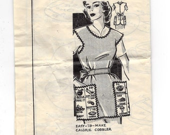1960s Mail Order #5329 Cobbler Apron with 12 Food and Calorie Transfers, Sizes 14-16-18, Unprinted Sewing Pattern
