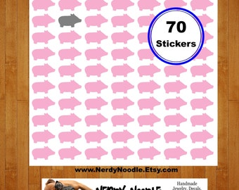 Pig Planner Stickers, 70, Pig Stickers, Pigs Sticker Set, Pig Envelope Seals, Pig Scrapbook Stickers, Pig Decals, Pigs