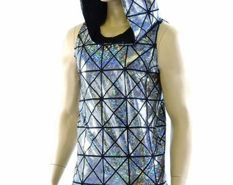 Mens Silver on Black Holographic Cracked Tiles Sleeveless Hoodie Shirt with Black Zen Hood Lining Rave Festival Clubwear 152262