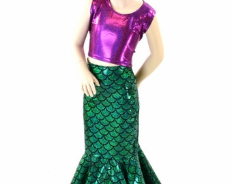Girls Mermaid Skirt (Top Not Included) in Green Dragon Scale  Sizes 2T 3T 4T and 5-12