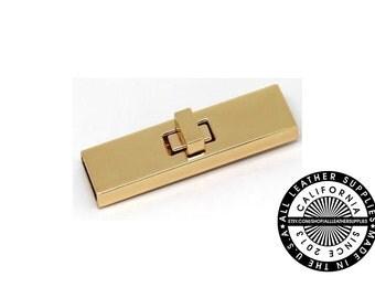 Gold Metal Rectangle Turn Lock, 68 mm x 19 mm Turn Lock, Metal Lock, (H1756)