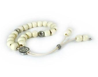 Worry Beads, Komboloi, Light Beige Wood Beads, Silvertone Shield Bead, Fathers Day Gift