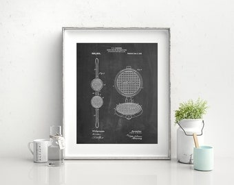 Waffle Iron for Ice Cream Cones 1909 Patent Poster, Ice Cream Lovers, Ice Cream Decor, Diner Decor, Ice Cream Parlor, Kitchen Art, PP1130