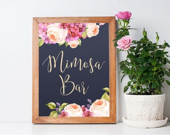 Printable Mimosa Bar Sign, Floral Mimosa Bar Sign, Floral Wedding Sign, Navy Wedding Mimosa Bar Sign, Hydrangea & peony Mimosa Sign