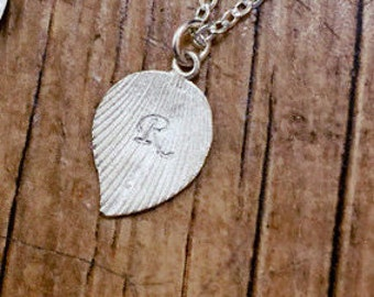 Sterling Silver initial necklace,Personalized initial letter charms, leaf initial, Monogramm, Bridesmaid gifts,friendship, silver necklace