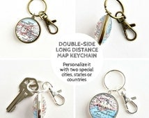 Double side Map Keychain / Long Distance Relationship Gift / Long Distance Boyfriend / Deployment Gift / Anniversary Gifts for Boyfriend
