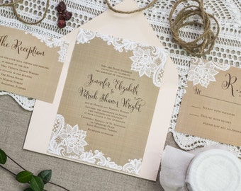 Rustic Wedding Invitation set, Vintage Burlap and Lace Corners,Elegant Country Wedding,Rustic Elegance Wedding Invites,Lace Invitation Suite