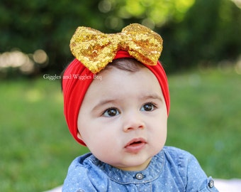 Baby girl headbands,  red and gold, gold bow headband, sparkle bow headband, infant head wrap, baby bows, 1st birthday