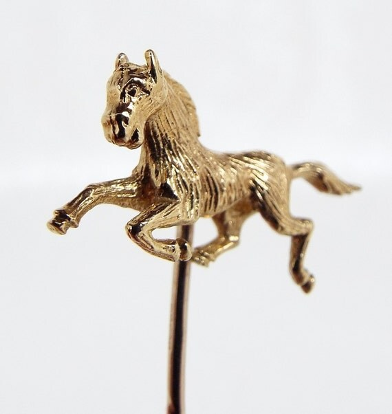 Vintage / 9ct Gold Beautiful Miniature Galloping Horse Stick Tie Pin Brooch