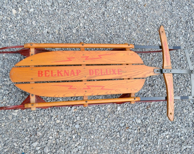 Vintage Belknap Deluxe Snow Sled Wood and Metal Standard Novelty Works Display Photo Prop PanchosPorch