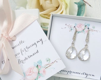 Bridesmaid jewelry set of 10 earrings silver teardrop earrings clear crystal earrings Bridesmaid Gift