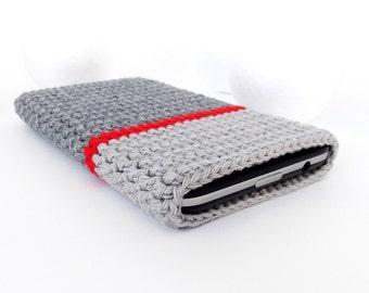 HTC One m7 case, Grey Nexus 5 phone case, Samsung Galaxy s4 cover, grey LG G2 pouch, colorblock Microsoft Lumia 830 cozy, crochet phone sock