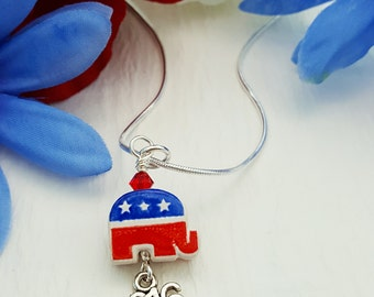 Republican Elephant Necklace, Republican Jewelry, Donald Trump, Political Campaign Jewelry, 2016 Election, Right Wing, Conservative, N5729