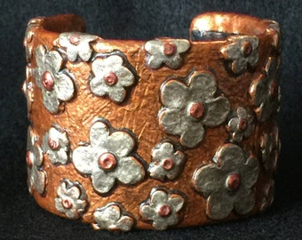 Cuff Bracelet Bangle Boho Polymer Clay Mid Century Modern Jewelry FLORET by Donna Pellegata ArtCirque