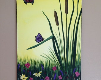 Butterfly painting,cattail painting,spring flowers, flower painting,yellow painting,girls painting,children's painting