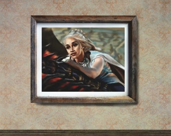 GAME OF THRONES art print poster Daenery Targaryen art print, GoT wall art, fantasy art print, GoT gift, winter is coming, mother of dragon